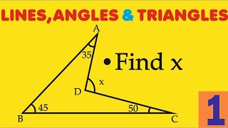 Lines Angles Triangles || Question 1 || Find X And Give  Your Answer In The Comment Box.