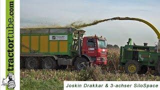 Mit Joskin im Mais - Drakkar auf LKW und 3-Achser Silo-Space - corn chopping, Maishäckseln