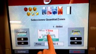 Barcelona,Spain metro- buying tickets from automated vending machine, choose T10 to save money