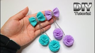 DIY - Tutorial Chiffon Fabric Flower With Pompom | Cara Membuat Bunga Dari Kain Sifon Patchwork