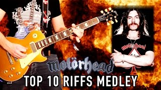 Top 10 Motörhead Guitar Riffs Medley - Lemmy Tribute (1945-2015)
