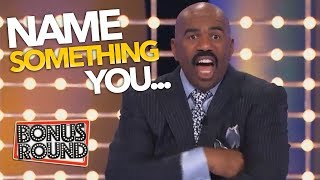STEVE HARVEY ASKS... Name SOMETHING YOU...Funny Answers On Family Feud