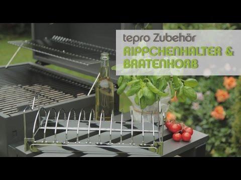 tepro Grillzubehör: 2-in-1 Rippchenhalter und Bratenkorb