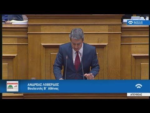 Aπόσπασμα απο την ομιλία Α.Λοβέρδου στην Βουλή