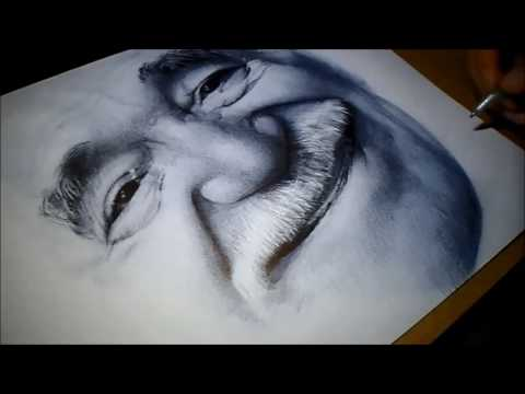 Ballpoint pen portrait - drawing without using sketch or grid. Part 2