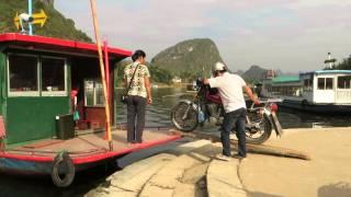 preview picture of video 'Embarquement de la moto-taxi dans le bac, Fuli, Yangshuo, Chine'