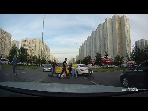 Нокаут после ДТП в Москве