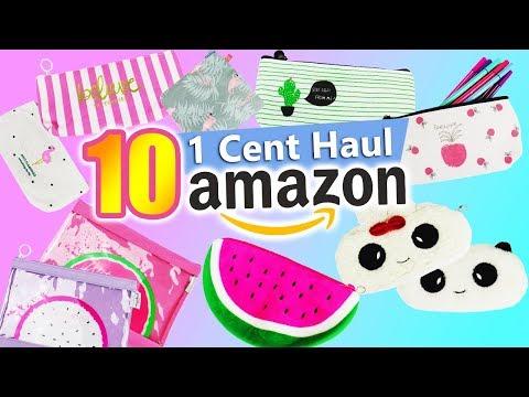 1 Cent Amazon Haul | Back to School Ideen | 10 super niedliche Etuis | Wassermelone, Flamingo...