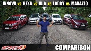 Marazzo vs XL6 vs Hexa vs Lodgy vs Innova Comparison | Hindi | MotorOctane