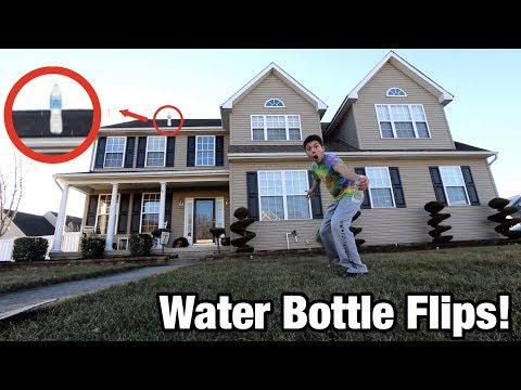 I DID THE HIGHEST WATER BOTTLE FLIP IN THE WORLD! *INSANE WATER BOTTLE FLIPS*