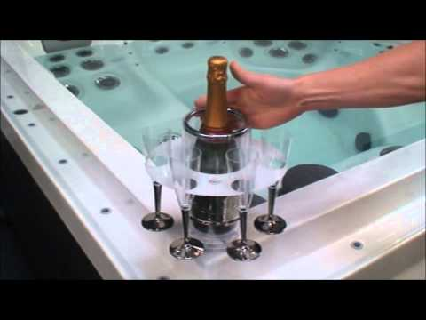 Where do I store my wine in the hot tub?