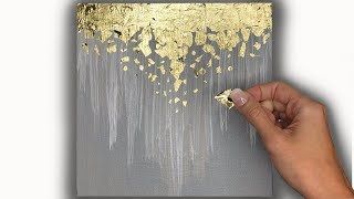 Abstract Acrylic Painting Technique Using Gold Leaf