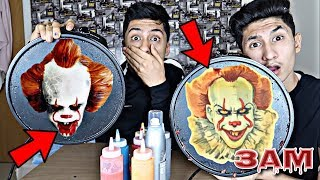 DO NOT PANCAKE ART CHALLENGE PENNYWISE FROM IT MOVIE AT 3AM!! *OMG SO CREEPY*