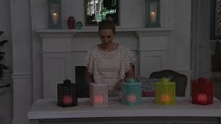 "Candle Impressions Punched Metal Lantern with 3"" Candle & Remote on QVC"