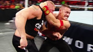 Unseen footage of the brawl between John Cena and WWE World Heavyweight Champion Brock Lesnar