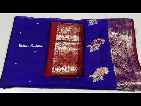 Semi Paithani saree designer patchwork back neck blouse
