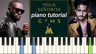 Hola Señorita (piano Cover Tutorial Synthesia)   Maître Gims Ft. Maluma