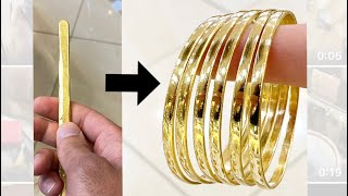 Making Solid 22K Gold Bangles From A Bar Of Gold | Jewelry Making | How It's Made | 4K Video