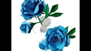 Роза с бутоном из цветной бумаги.