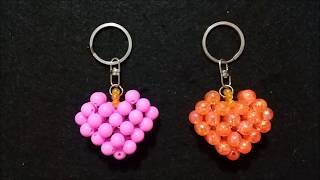 Membuat gantungan kunci love//Valentine//Mote//Diy//Tutorial//Beaded key chain//Heart