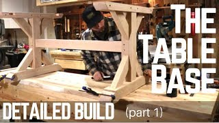 How To Build A Farmhouse Trestle Table Base ( Detailed Version ) Woodworking | Make