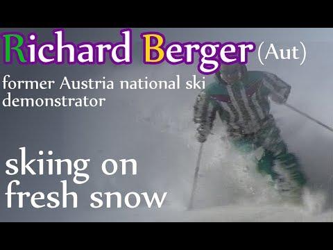 Richard Berger skiing on fresh snow
