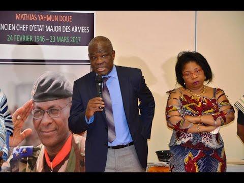 Témoignage du ministre Eric Kahé à la cérémonie d'hommage au général Mathias Doué à Paris.