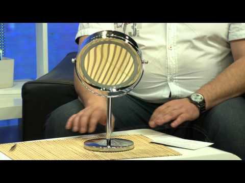 Sichler Beauty Wand-Kosmetikspiegel, 5-fach, Saugnapf & 25 LEDs