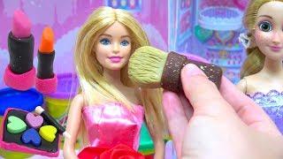 BARBIE DIY MAKE UP Play Doh Cosmetics Box Disney Princess Rapunzel Crafts