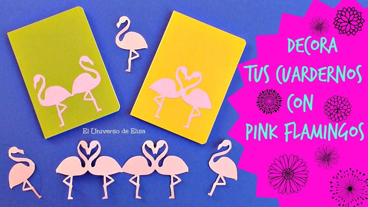 Decora tus Cuadernos con Flamencos Rosa de kirigami, Pink Flamingo Decoration