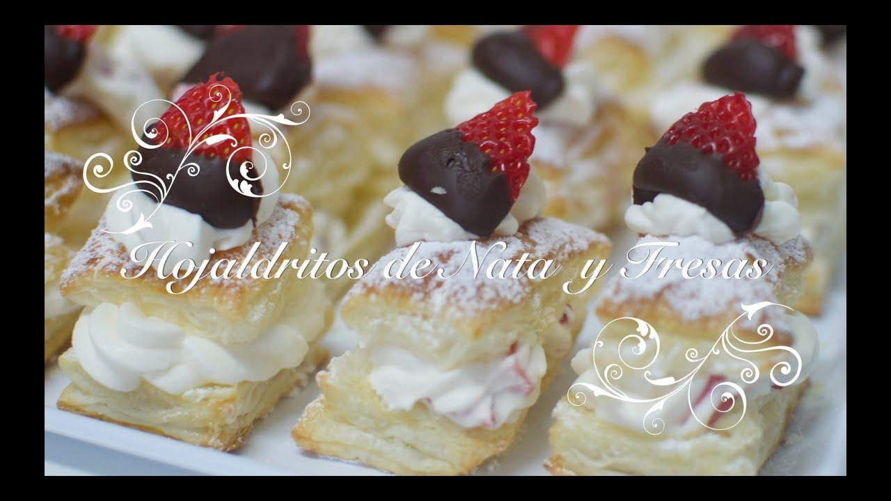 Hojaldres Rellenos de Nata con Fresas | Hojaldres de Nata | Hojaldre Relleno de Nata | San Valentin