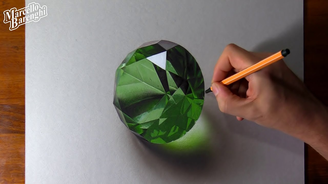 drawing realistic emerald by marcello barenghi