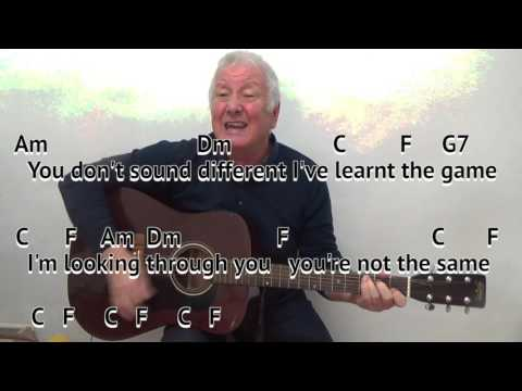 I'm Looking Through You - Beatles cover - easy chords guitar lesson - on-screen chords and lyrics