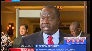 Acting CS Fred Matiang'i briefs the media on the meeting held with the foreign diplomats