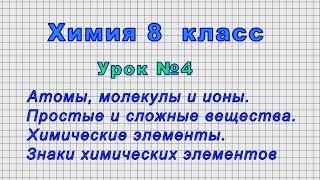 Химия 8 класс Урок 4 - Атомы, молекулы и ионы. Простые и сложные вещества.Химические элементы.