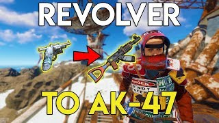 REVOLVER TO AK-47! STEALING GUNS FROM A CLAN! - Rust Survival #70