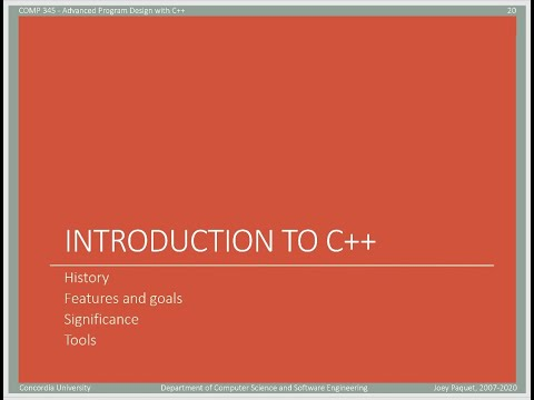 COMP345 - slide set 0 - part 2 - Introduction to the C++ language