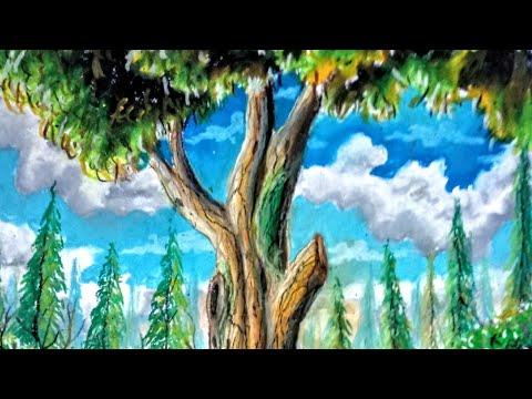 Mewarnai Pohon Dengan Oil Pastel Anak Seni Indonesia Video