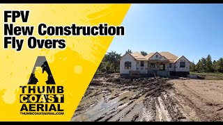 Emerald Coast Building Company House during Construction Site FPV drone view footage 4K Michigan