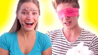 BLINDFOLDED MAKEUP CHALLENGE WITH JOEY GRACEFFA! | iJustine