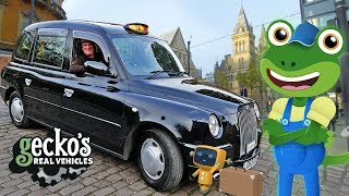 Geckos TAXI Adventure!   Taxi For Kids   Geckos Real Vehicles   Cars For Children   Learning Video