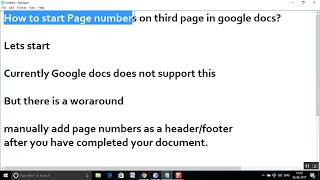 How to start Page numbers on third page in google docs?