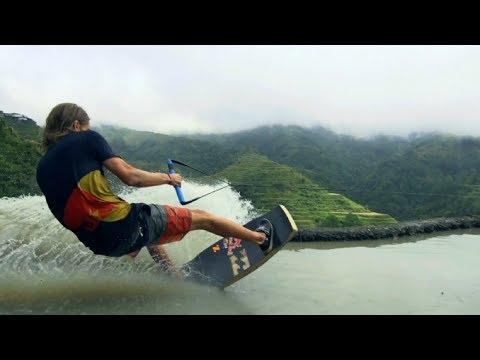 סקי מים על טרסות האורז בפיליפינים