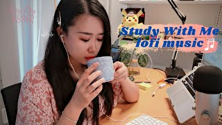 [ASMR Tapping] Study with Me Real Time with lo-fi music 1h43m