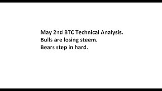 May 2nd BTC Technical Analysis. Bulls are losing steem. Bears step in hard.
