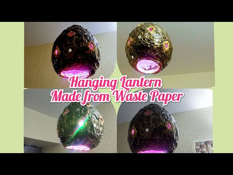 Hanging Lantern made with waste paper