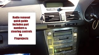 Toyota Avensis 2003 - 2009 radio removal guide inc steering controls