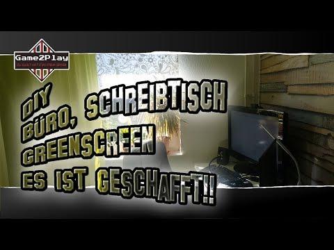 DIY-Büro 2018 Green-Screen Schreibtisch Büro einrichten Tapezieren + Teppich verlegen 