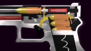 3D Glock Semi Automatic Pistol Function Animation