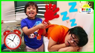 Ryan Pretend Play Waking Up Daddy with Musical Instruments and sing songs for Kids!